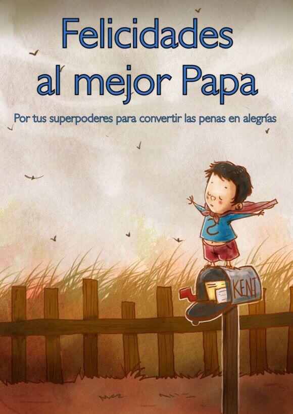 Día del padre Felicidades al mejor papa, niño disfrazado de Superman