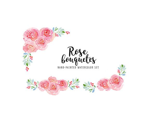 Rose Watercolor Bouquets Clip Art Rose Wreaths Drawing Pink