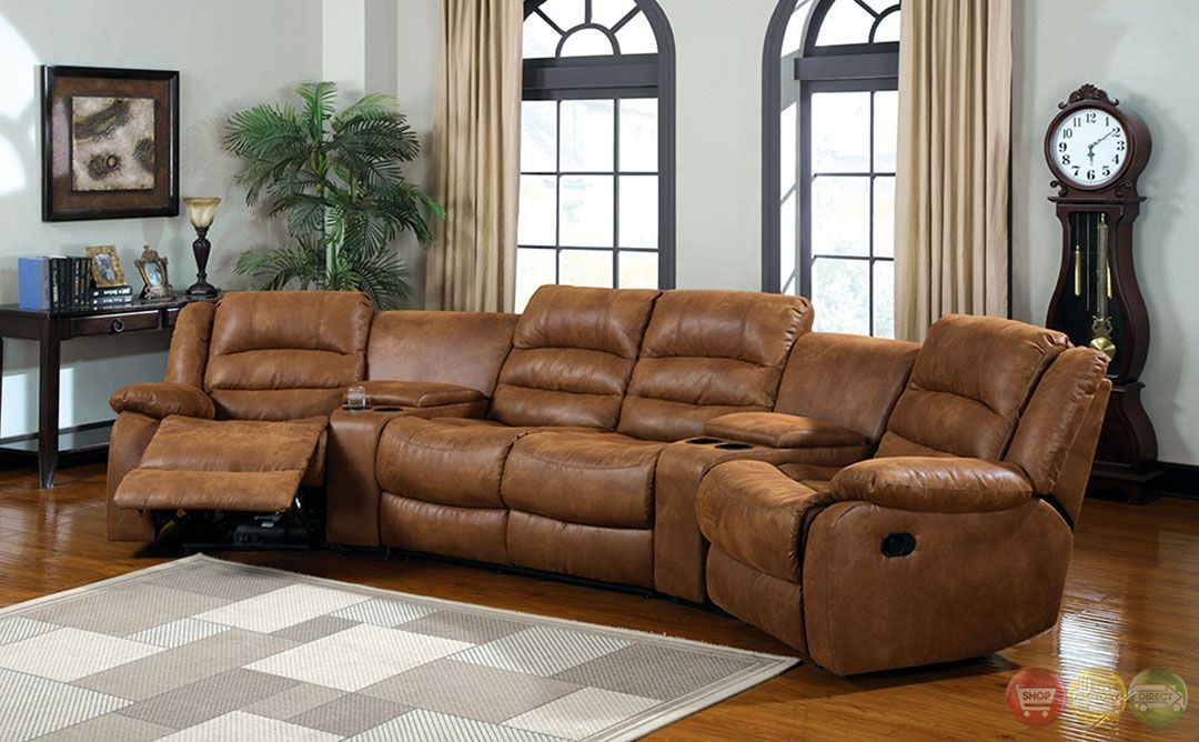 Manchester Caramel Faux Leather Sectional Sofa Set Cup Holders