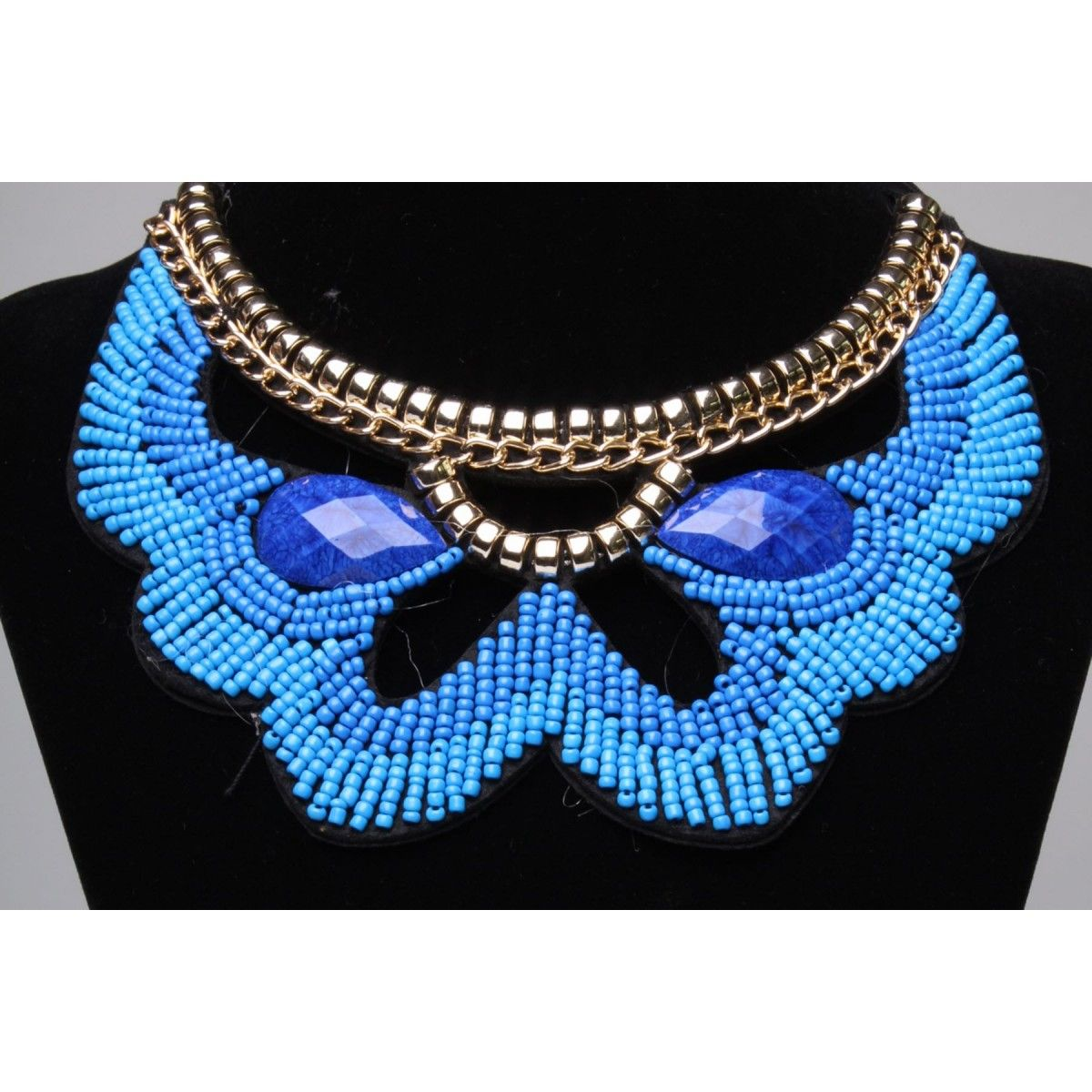 "Collier ras du cou, bleu royal, "" Fleur Bleu"", avec perles"