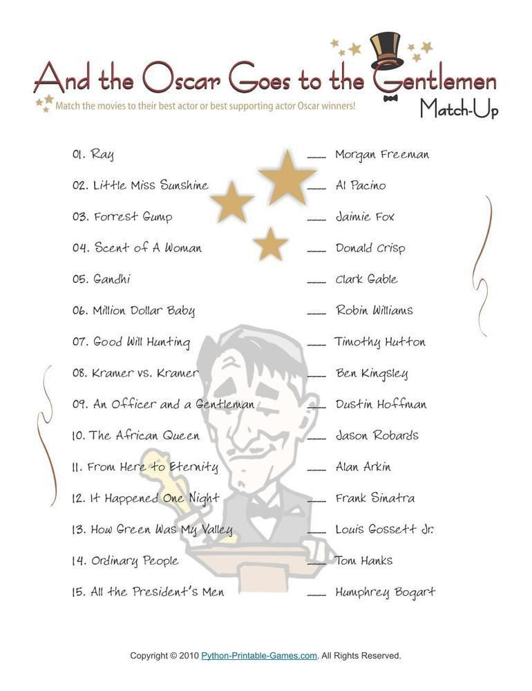 Pop Culture Games Best Actor Oscar Winners Trivia, $695 Pop - free printable quiz