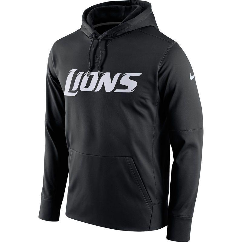 87207589077 Detroit Lions Nike Circuit Wordmark Essential Performance Pullover Hoodie -  Black