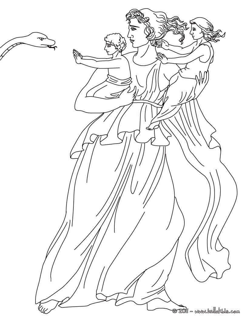 Kleurplaat LETO the Greek titan goddess of motherhood coloring page ...