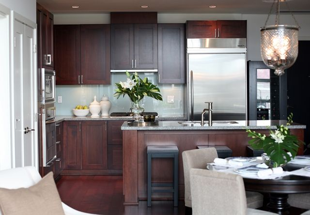 Grey Kitchen Walls With Cherry Cabinets lovely kitchen design with cherry flat center panel kitchen