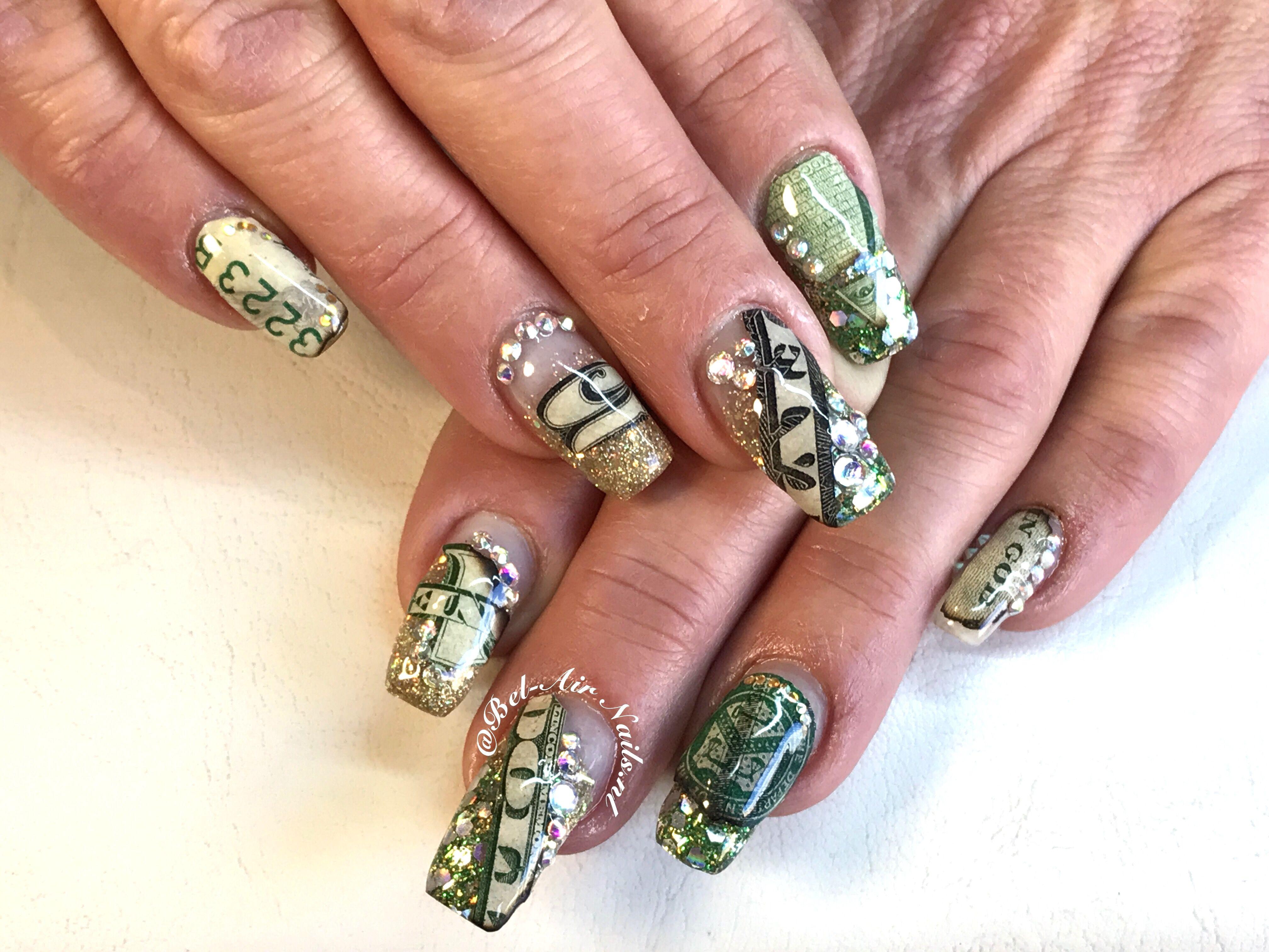 Money Nails 1 And 5 Dollar Bel Air Nails The Netherlands Http Www Instagram Com Belairnails Nails Nail Art Bel Air