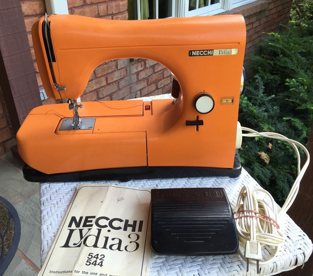 Vintage Necchi 544 Lydia 3 Sewing Machine With Case Attachments Supernova Threading Diagram Orange Made In Italy W Accessories