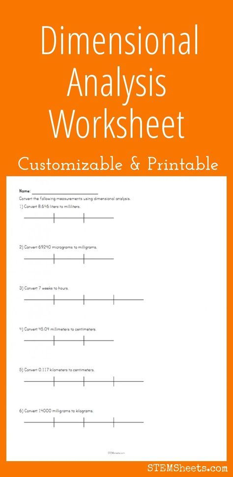Dimensional Analysis Worksheet Customize And Print Chem Ideas