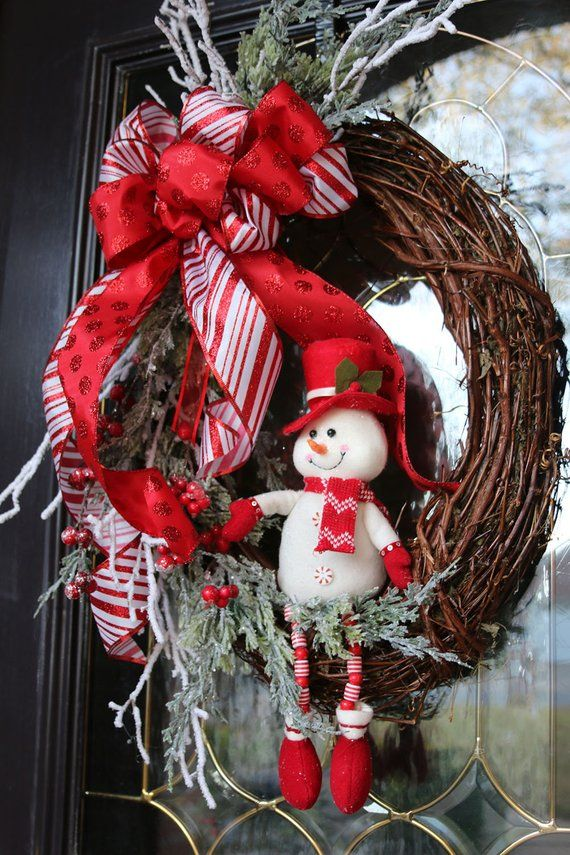 Jolly Snowman Christmas wreath for front door, Red & White Christmas door wreath, Holiday decoration, Christmas gift, Rustic Farmhouse decor