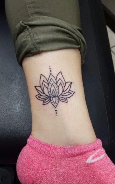 Outline Simple Lotus Flower Tattoo