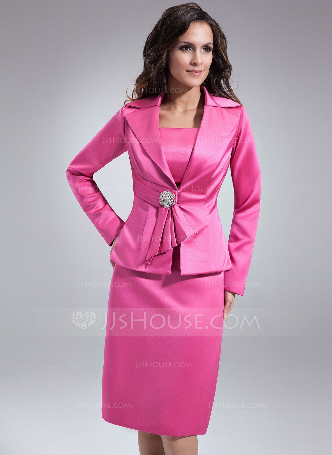 Sheath/Column Square Neckline Knee-Length Satin Mother of the Bride Dress (008006136) - JJsHouse