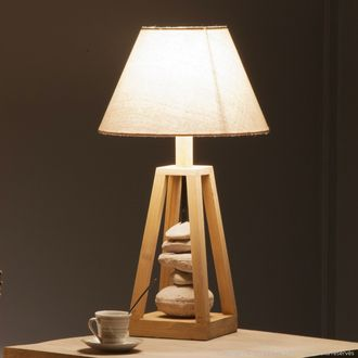 lampe poser en bois et galets avec abat jour en coton cru hauteur 54 cm georgia deco maison. Black Bedroom Furniture Sets. Home Design Ideas