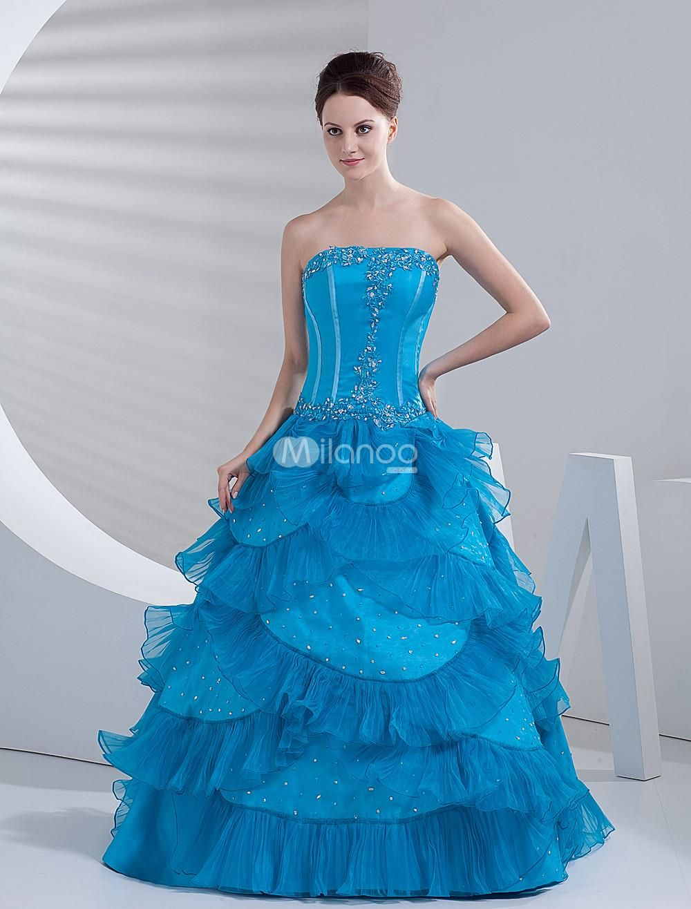Blue satin organza beautiful women prom dress strapless dresses are