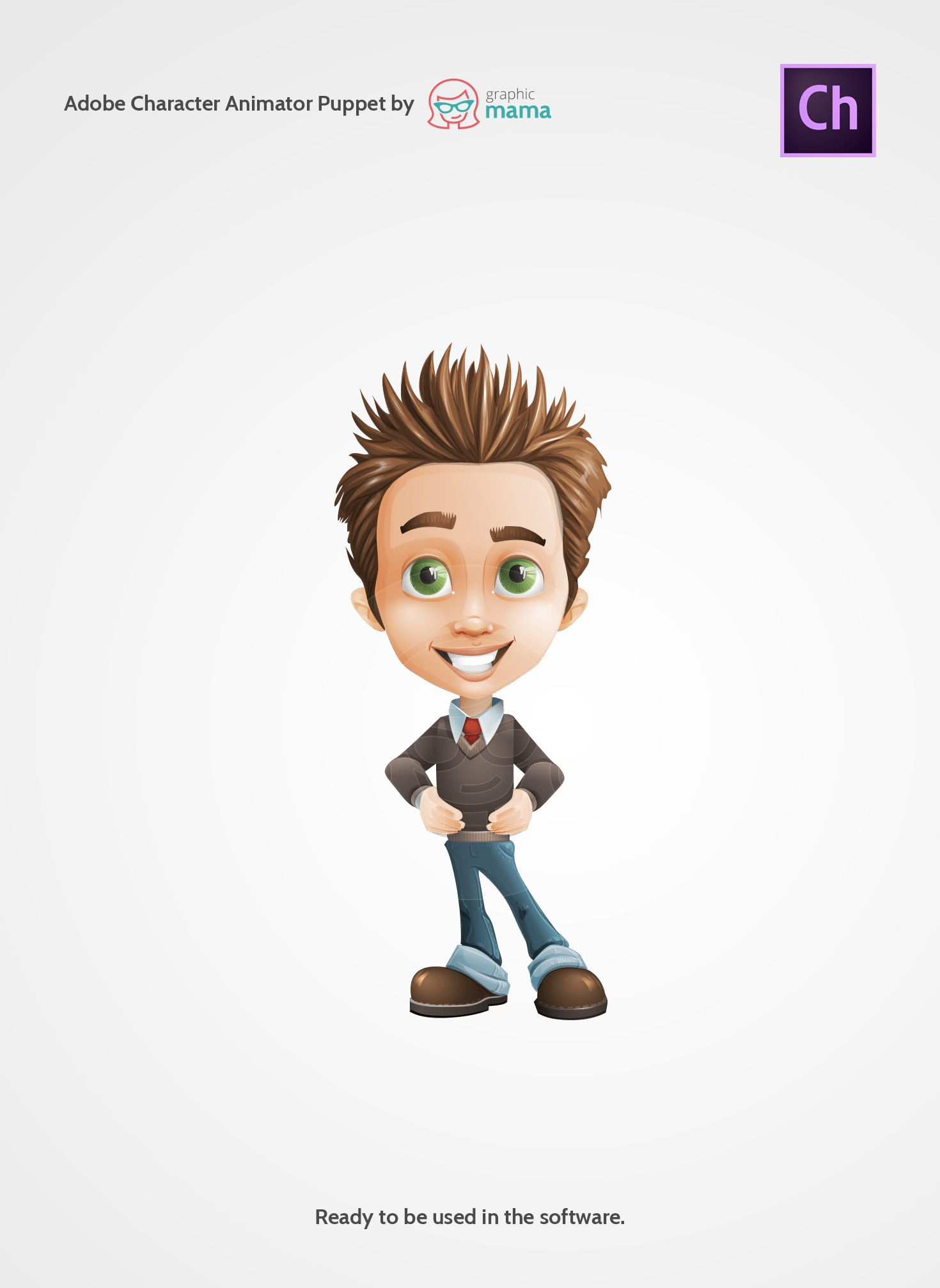 a cheerful boy cartoon character made as an adobe character animator