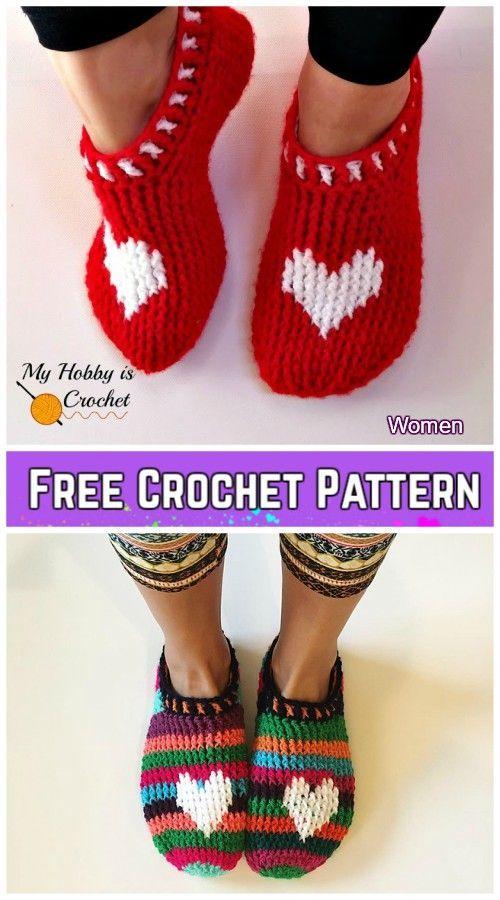 Photo of Crochet Heart & Sole Slippers Free Crochet Pattern – Kids & Women