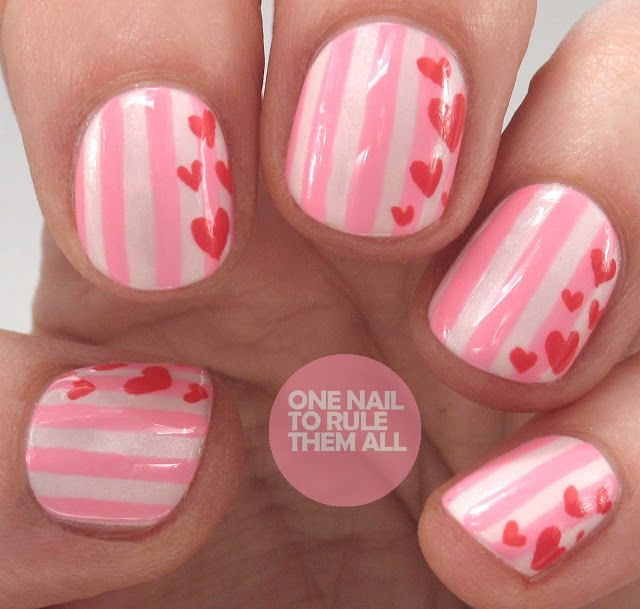 Striped Hearts Valentine\'s Day Nail Art (One Nail To Rule Them All ...