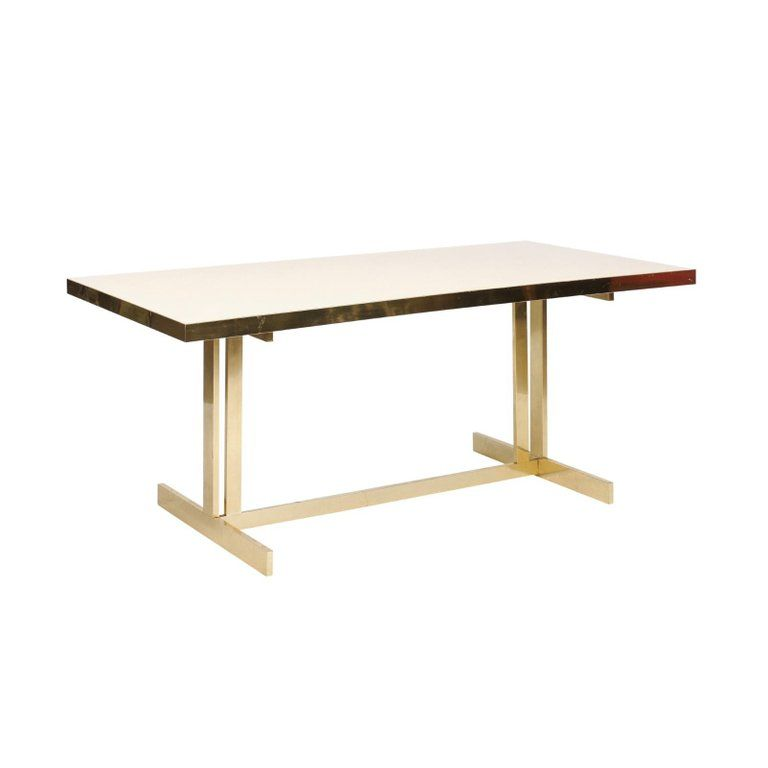 Italian Vintage Mid Century Modern Formica Dining Table With Brass