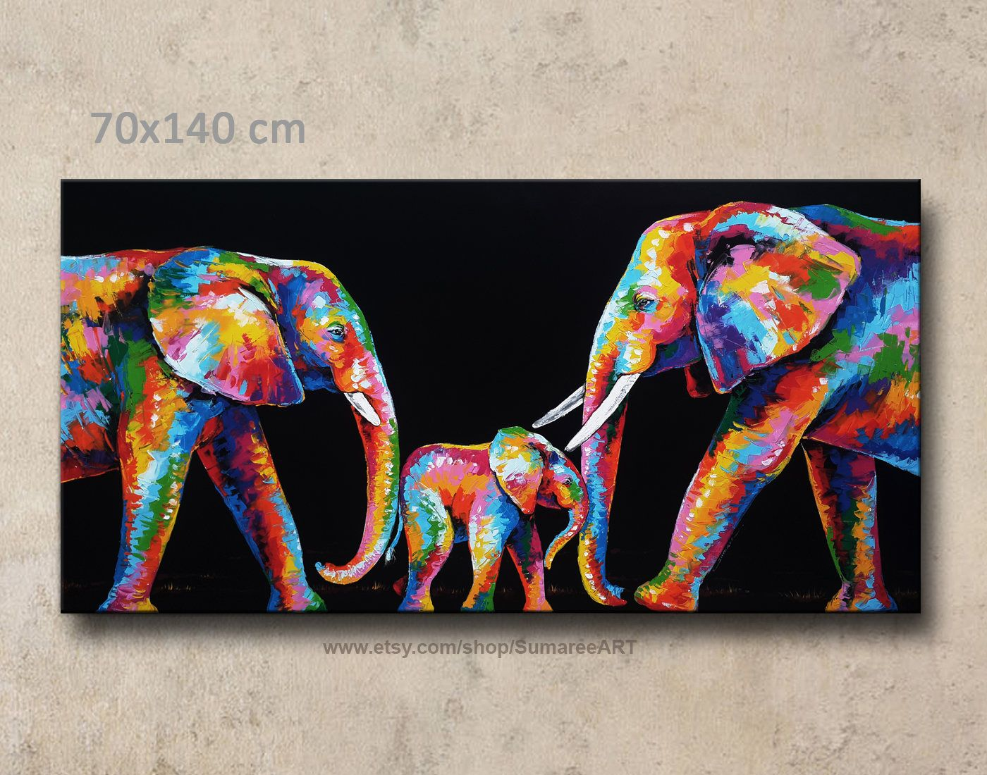 Cuadros Elefantes 70 X 140 Cm Colorful Elephant Painting Wall Decor En 2018