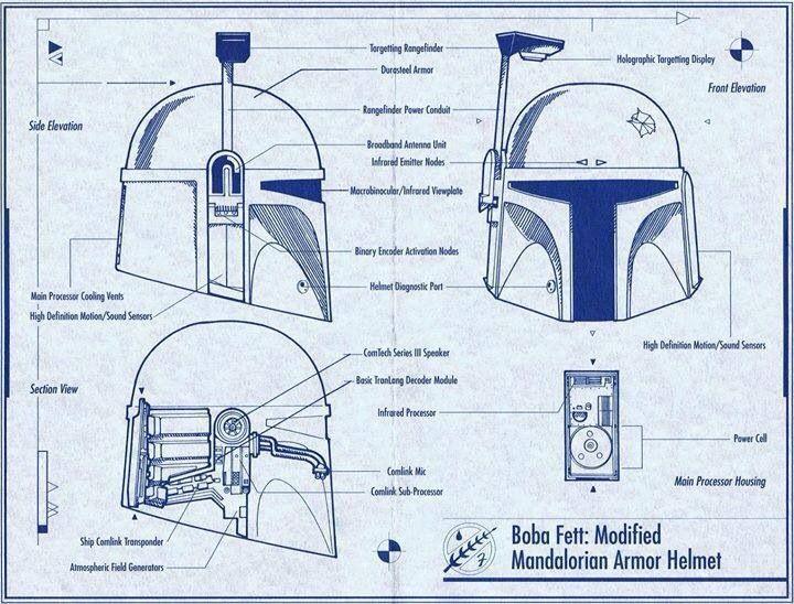 Boba Fett  Helmet Schematics  Star Wars  Concept Art