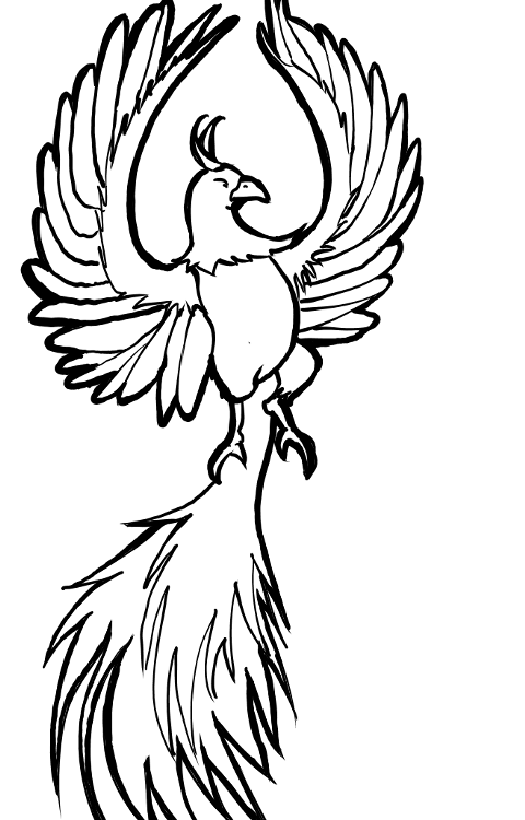 phoenix line drawing | On paper, consider drawing the line art first ...