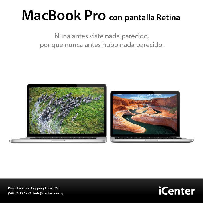 MacBook Pro con Pantalla Retina. Una innovadora pantalla Retina, arquitectura en flash, los procesadores móviles más rápidos, y un diseño asombrosamente delgado y liviano, en 13 y 15 pulgadas. Grandes funcionalidades juntas que llevaron a la portátil más lejos que nunca, y ahora harán lo mismo con todo lo que hagas con ella.