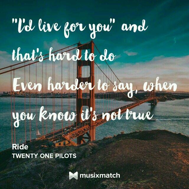 ride twenty one pilots lyricscard
