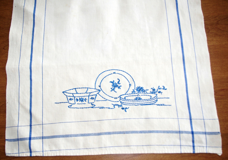 Vintage Hand Embroidered Kitchen Towel Plates Bowls 1950s Blue