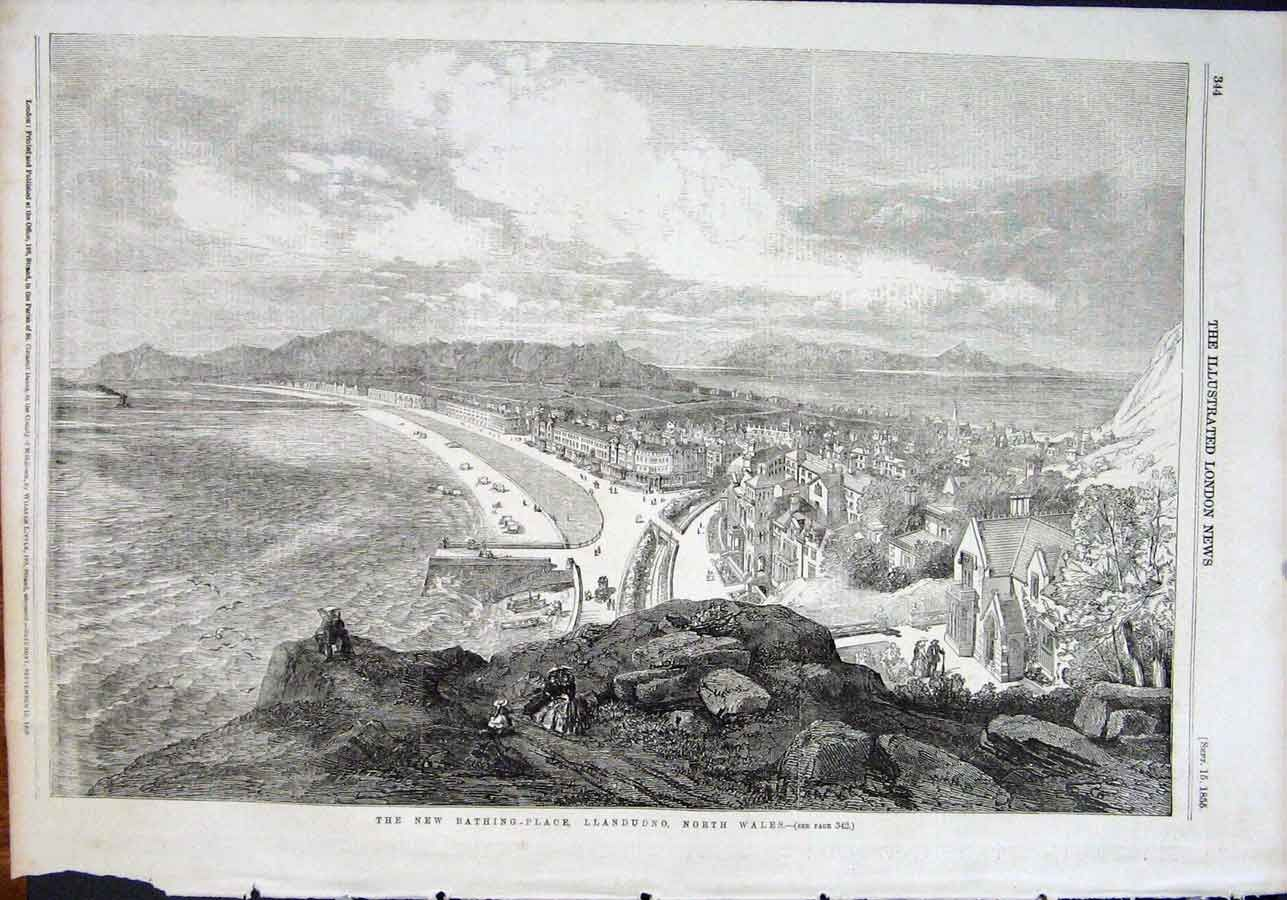 Llandudno from the Great Orme 1855 from the Illustrated London News