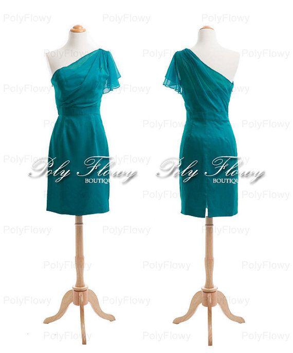 Chic Teal Green Bridesmaid Dress,Short Chiffon Bridal Party Dress ...