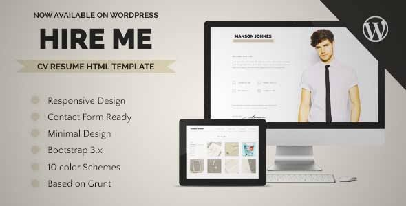 Download and review of Hireme - Responsive Resume WordPress Theme - resume review