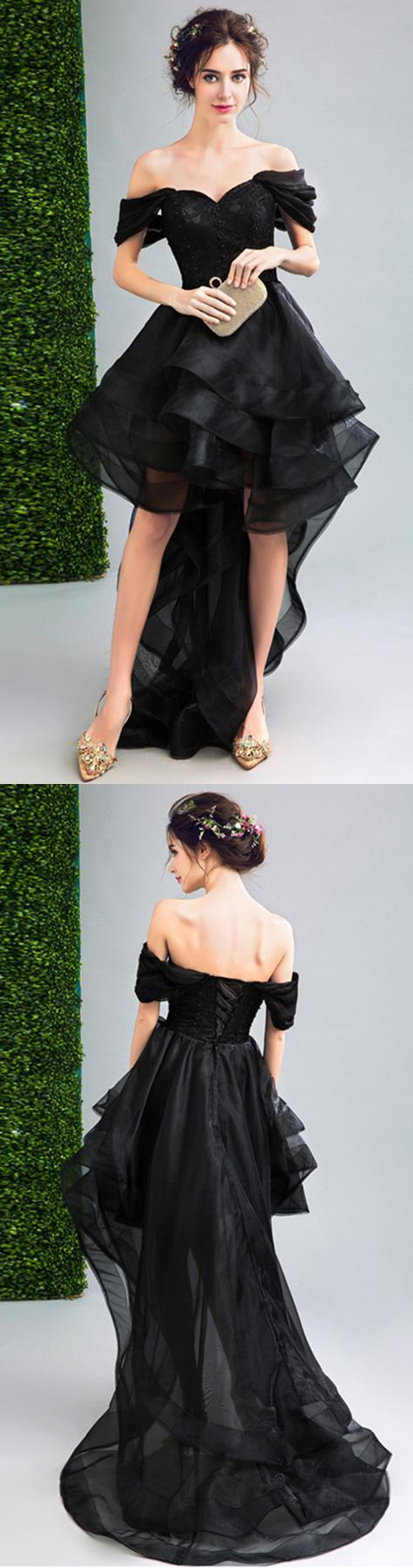 Black ballgown offtheshoulder high low organza formal dress with