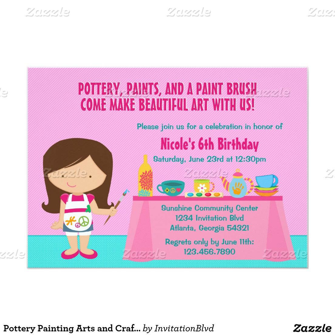 Pottery Painting Arts and Crafts Birthday Party Invitation ...