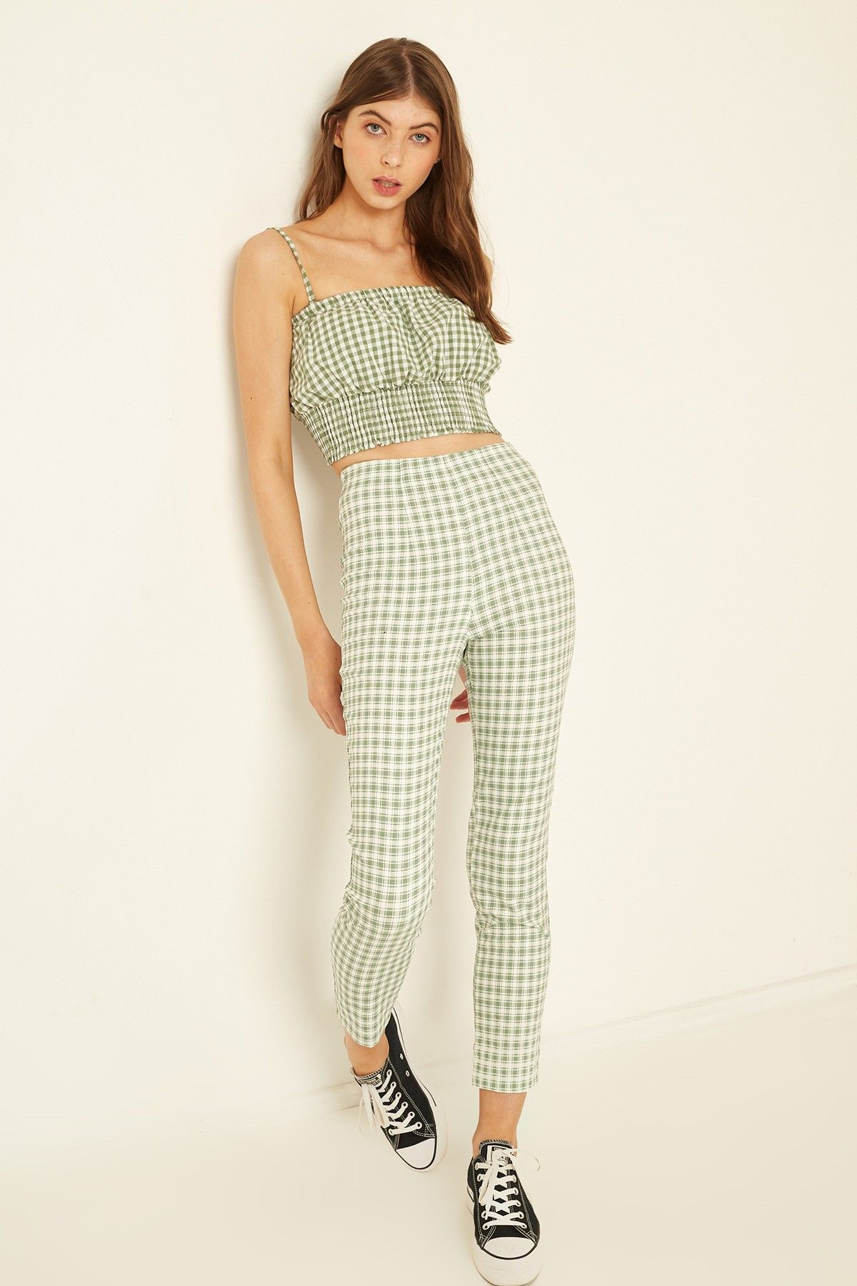 Luck trouble gingham pant sage gingham pants cute