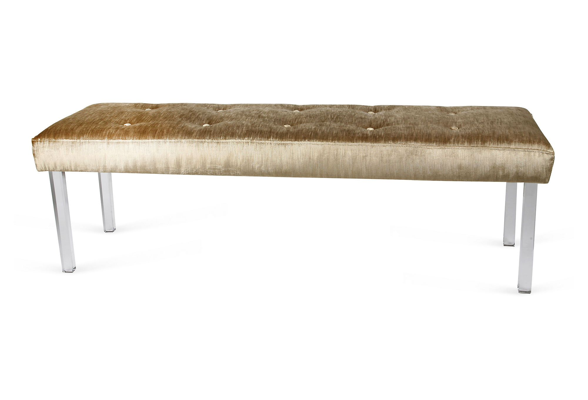 velvet bench w lucite legs on one kings lane today shop tastemaker treasures pinterest. Black Bedroom Furniture Sets. Home Design Ideas