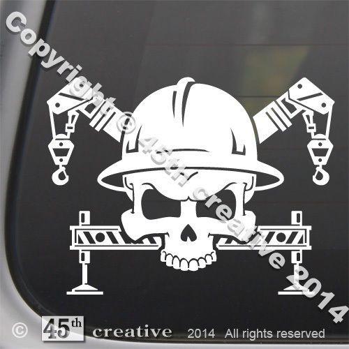 4 75 Crane Operator Skull Decal Sticker Crane Truck Lift Hook Outrigger Skull Logo Ebay Home Garden Crane Operator Truck Tattoo Crane Construction
