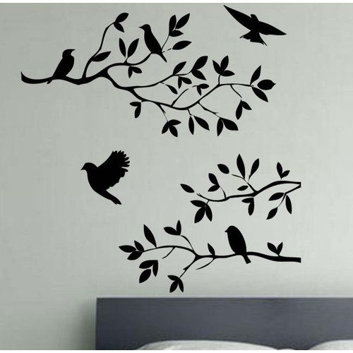 Mixture Of Birds On A Branch Decal Vinyl Wall Sticker Kult Kanvas Size Extra Large Colour Brilliant Blue Wall Quotes Decals Flower Wall Stickers Wall Decals