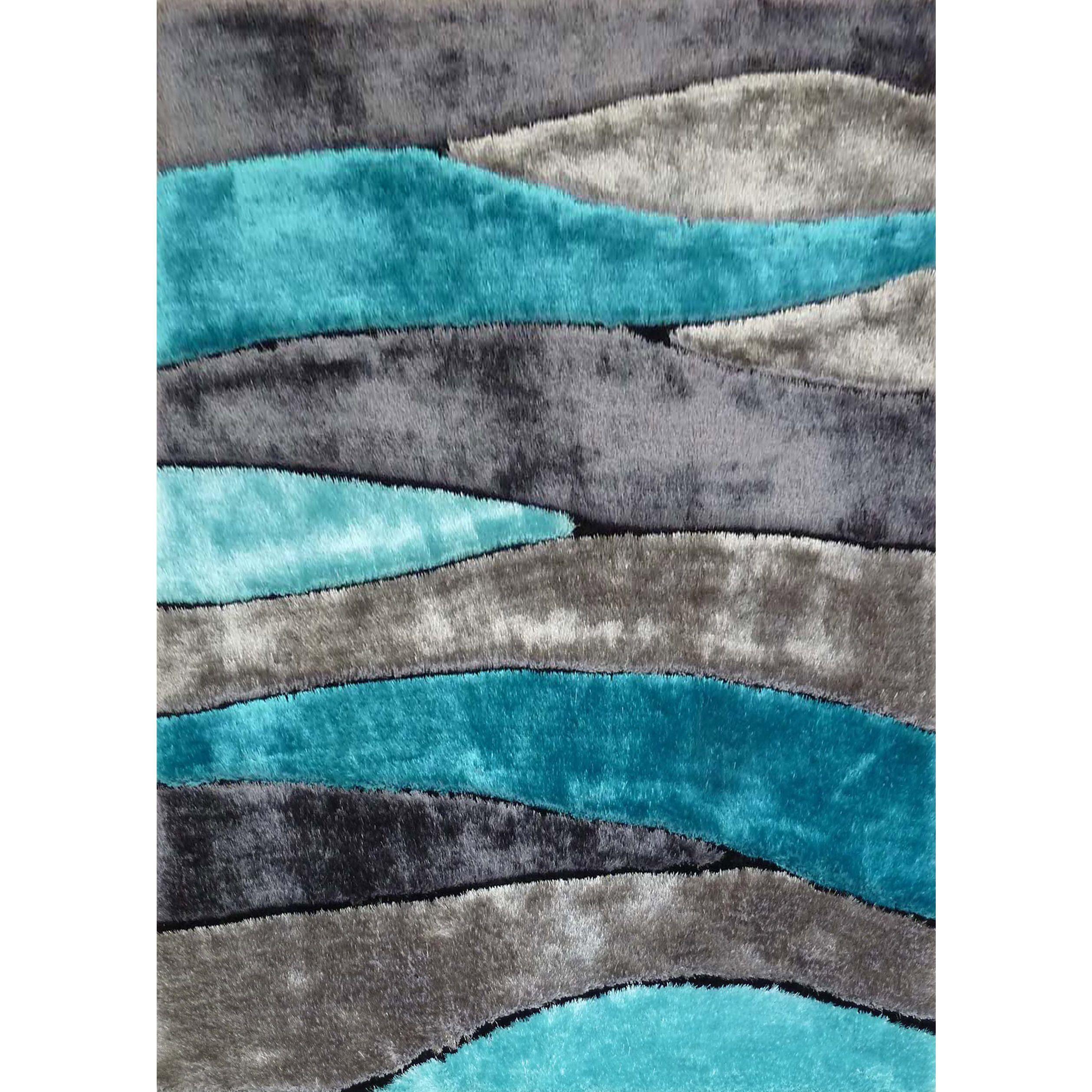 Silver Grey Turquoise Black Viscose Handmade Area Rug 4 X 5