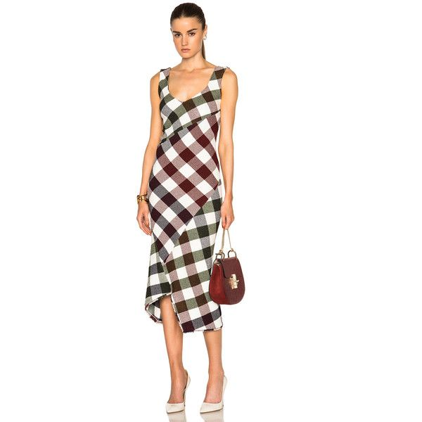 Victoria Beckham Bounce Gingham Open Back Midi Dress (€3.245) ❤ liked on Polyvore featuring dresses, midi dress, mid calf dresses, open back dress, white dress and white midi dress
