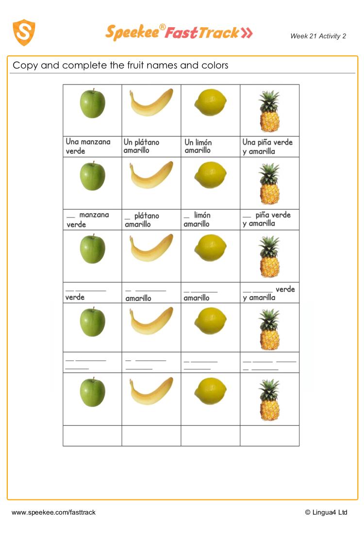 Spanish Fruit Worksheet Spanish Printables Spanish Worksheets Fruit Names [ 1100 x 750 Pixel ]