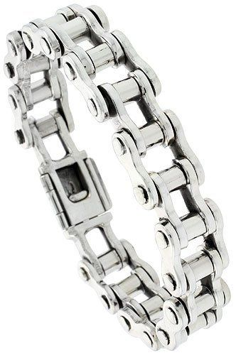 Sterling Silver Bicycle Chain Bracelet Handmade 12 Inch 14 Mm