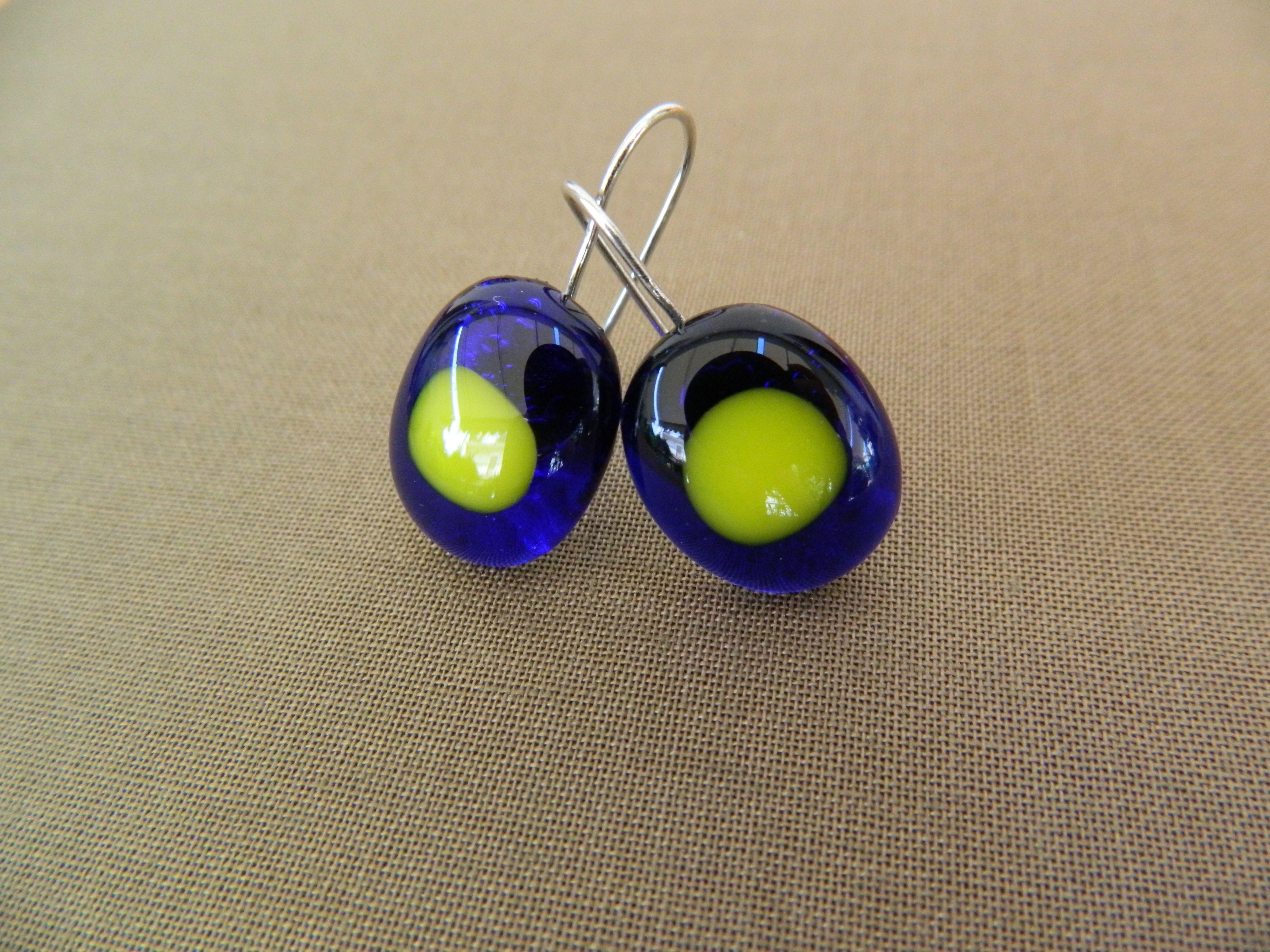 Fused glass blue-yellow earrings