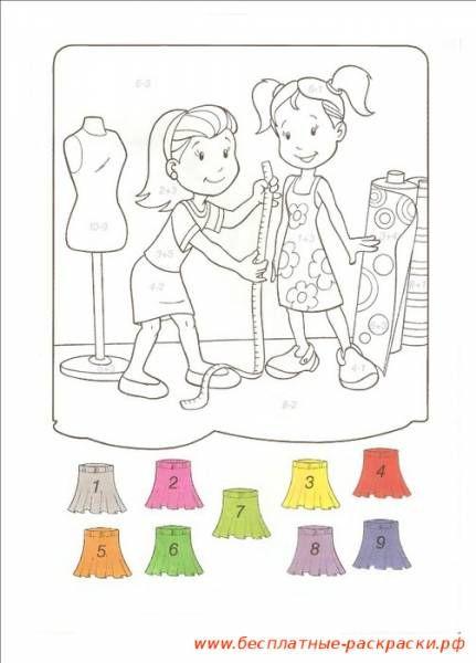 Раскраска модельер примеряет, швея, будет шить платье ...