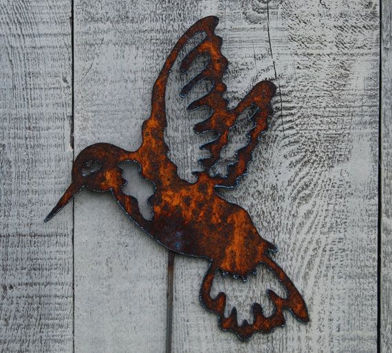 Hummingbird Garden Stake Rusty Metal Art By FoothillMetalArt