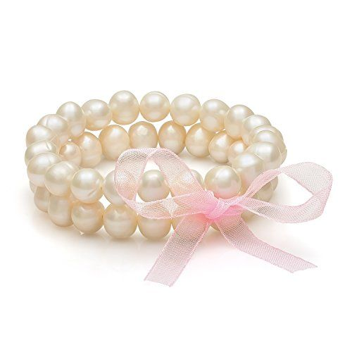 """2 Row 8.5-9.5mm White Freshwater Cultured Pearl with Ribbon Stretch Bracelet, 7.25"""""""