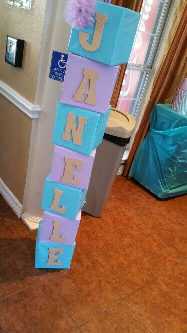 DIY baby shower block letters! Used 14x14x14 boxes bought