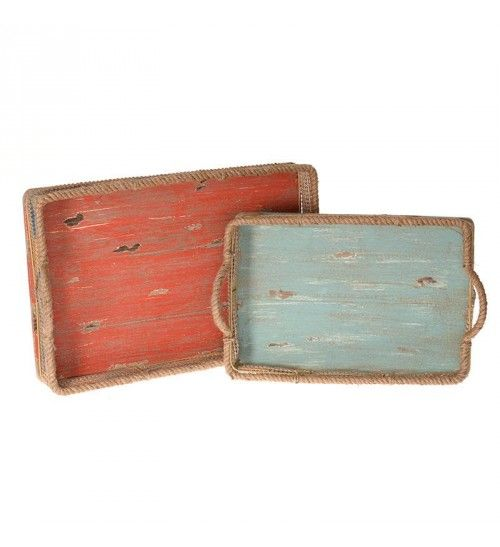 Wooden Trays To Decorate Gorgeous S_2 Wooden Tray W_Rope In Red And Blue Color 55X33X12  Trays Inspiration