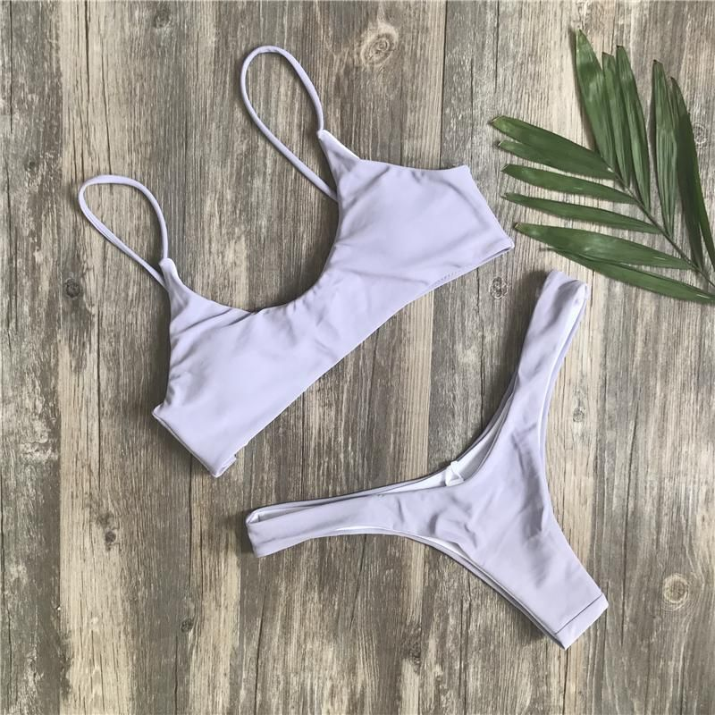 d506a7b584c33 Kmnovo New Solid Thong Bikini Sexy Swimwear Women Plus Size Swimsuit Halter  Bikini Set Simple Large Bathing Suit Biquini XXL | Products | Белье