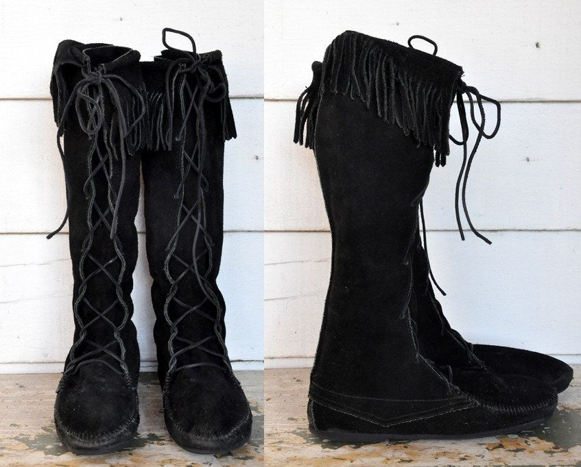 MINNETONKA Tall Stiefel Knee High Lace up up up schwarz Suede Moccasins ... 404e49