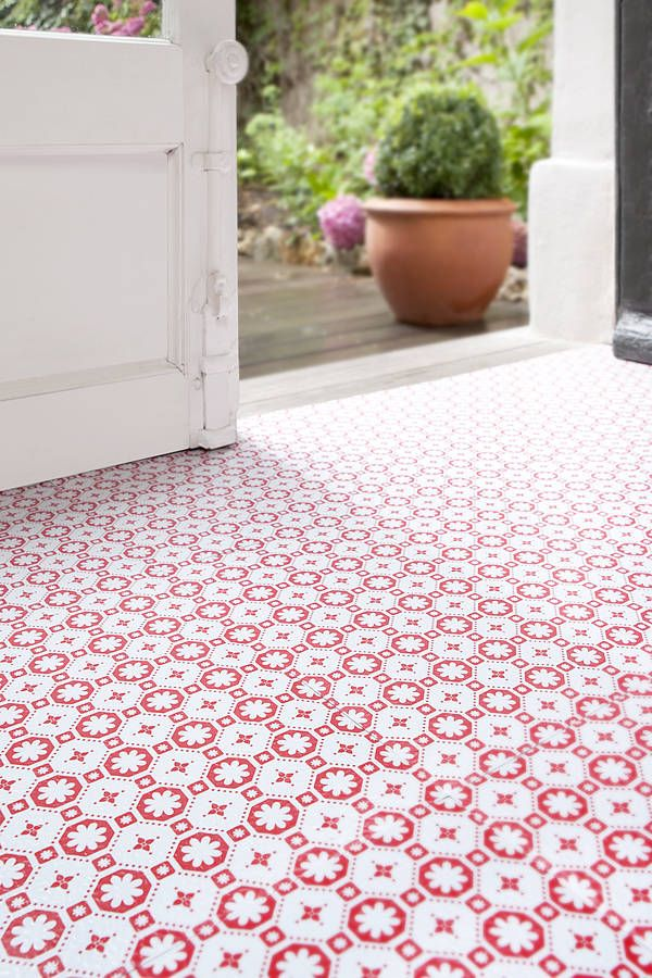 Rose Des Vents Red Vinyl Floor Tiles Rose Laundry And Kitchens