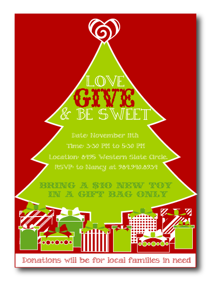 Toy Drive Invitation Christmas Fun Christmas Party