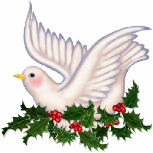 Christmas Tree Doves: Dove & Holly Peace - Ornament